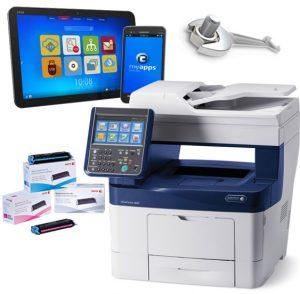 fotocopiadora multifuncional com toners e ecrãs