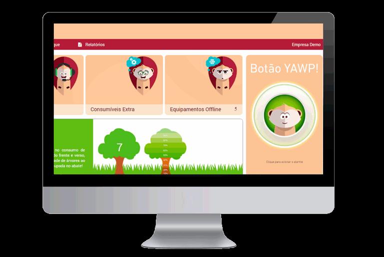 Ecrã mostrando o Yawp Print para managed print services
