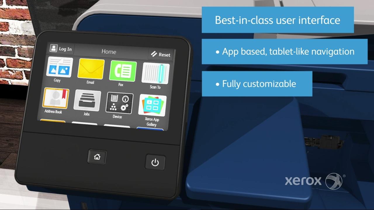 Display da Xerox Altalink para solução de impressão