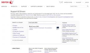 Imagem do site suporte Xerox