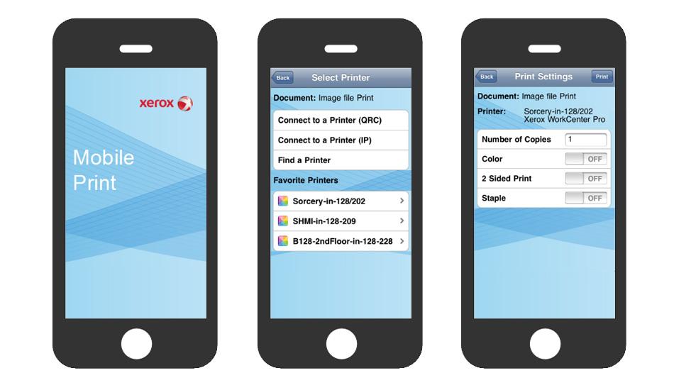 Três ecrãs de iPhone a simbolizar a impressão móvel