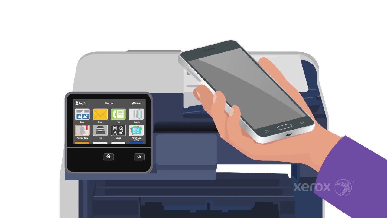 Telemóvel em mãos em frente a impressoras Xerox